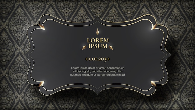Floating black frame on abstract traditional thai pattern background Premium Vector