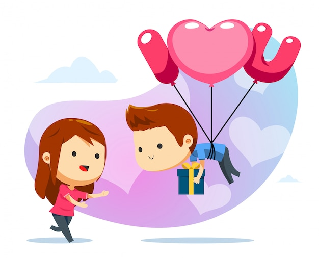 A floating boy with balloon and a girl ready to catch Premium Vector