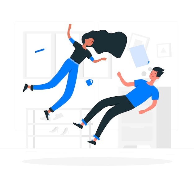 Floating concept illustration Free Vector