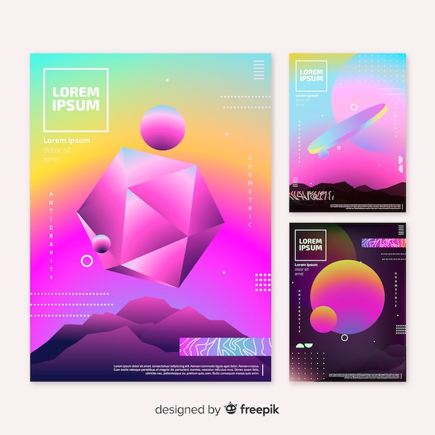 Floating geometric shapes brochure pack Free Vector