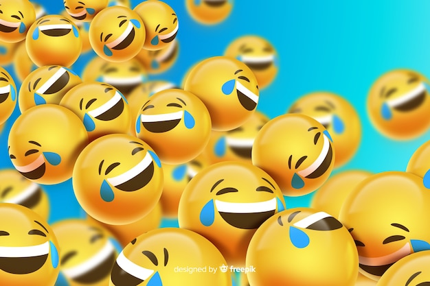 Floating laughing emoji characters Free Vector