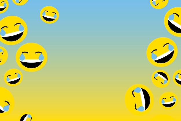 Floating laughing emoji Free Vector
