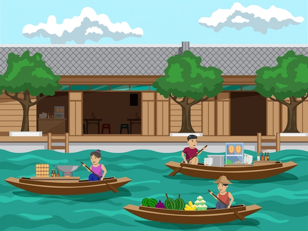 Floating market in thailand it's a riverside community market there are sales of such as fruit , noodles and padthai. Premium Vector