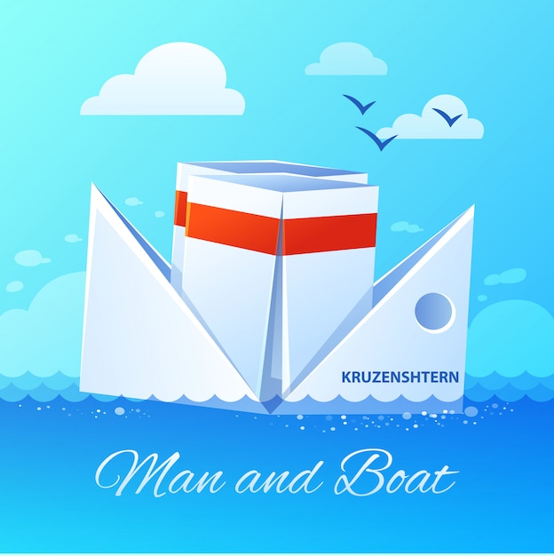 Floating paper boat flat icon poster Free Vector