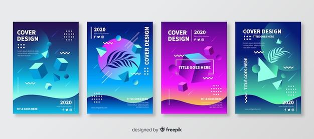 Floating polygonal shapes brochure set Free Vector