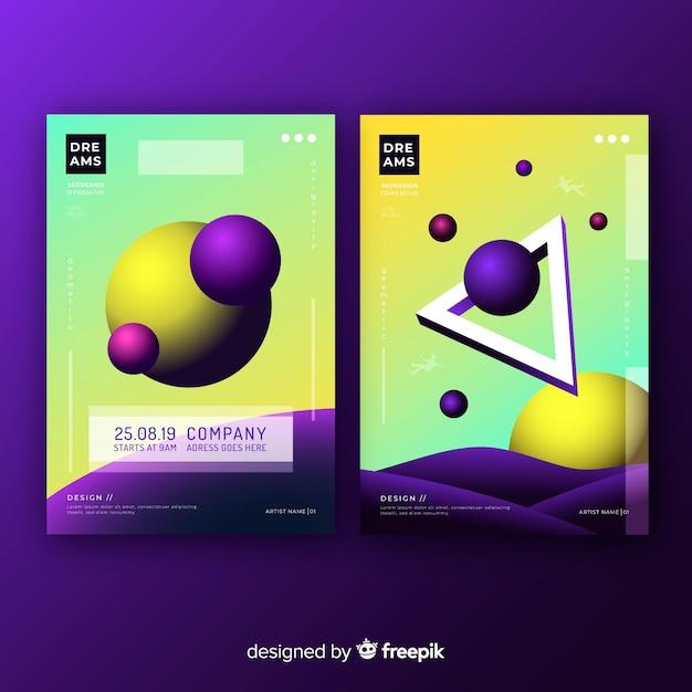 Floating shapes brochure pack Free Vector