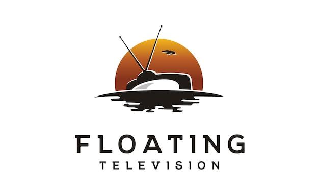 Floating tv movie production logo Premium Vector