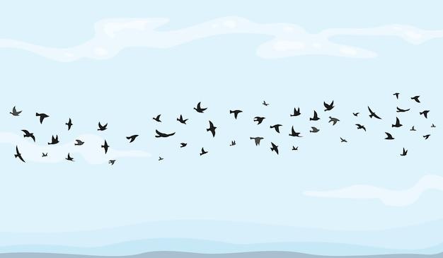 漫画の空飛ぶ鳥のイラストの群れ。 Premiumベクター