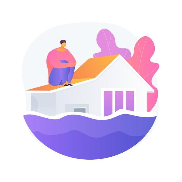 Illustrazione di concetto astratto di inondazione. disastro naturale, flusso d'acqua, forti piogge, ciclone tropicale e tsunami, lago traboccante, contaminazione dell'acqua, cambiamento climatico Vettore gratuito