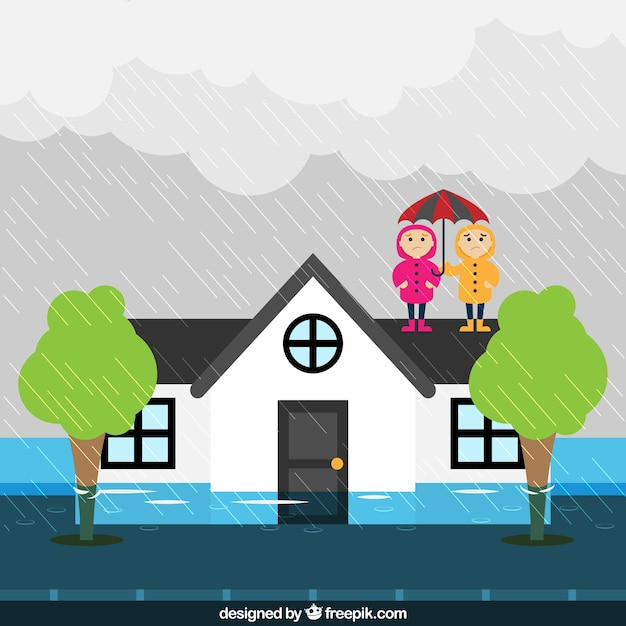 Flood design Free Vector