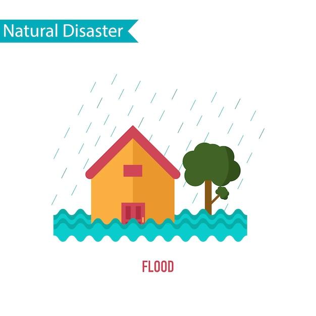 Flood disaster in flat design concept Premium Vector