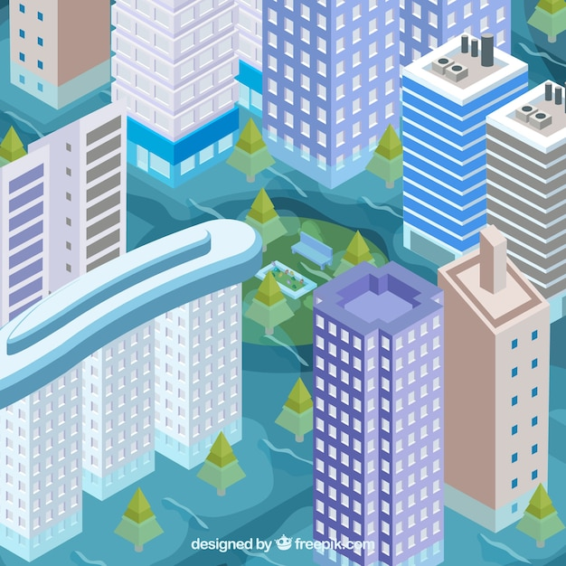 Flood in city Free Vector