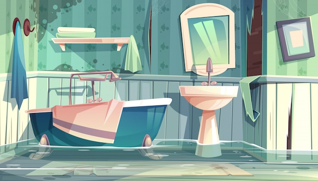 Flooded bathroom in old apartments or house cartoon ...