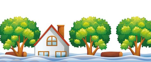 Casa allagata con fiume e alberi Vettore gratuito