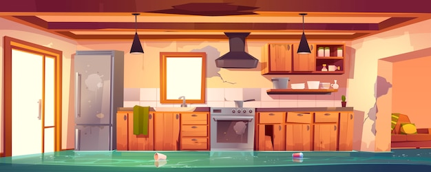 Flooded rustic kitchen, abandoned empty interior Free Vector