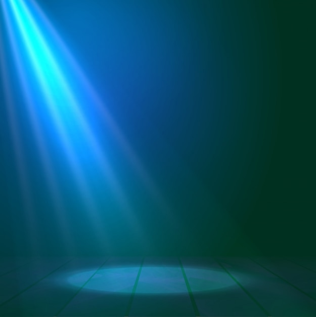 Floodlight spotlight illuminates wooden scene background Premium Vector