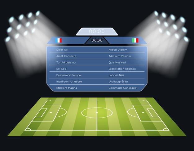 フラッディングサッカー場のスコアボード。スポットライトと照明、スポーツサッカーゲーム、スタジアム、チャンピオンシップ大会。 無料ベクター