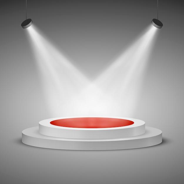 투광 조명 무대. 시상식을 위해 레드 카펫으로 조명 된 축제 무대 연단 장면. 삽화 프리미엄 벡터