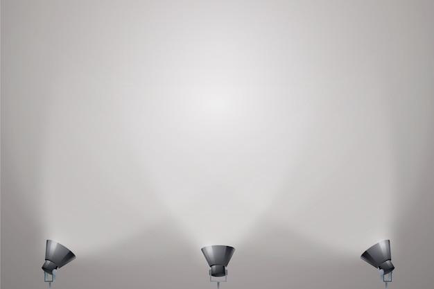 On the floor spot lights background Premium Vector