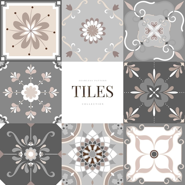 Floor tiles set Free Vector