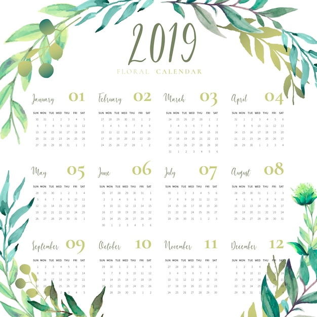 April Calendar You Can Edit : Floral calendar with watercolor leaves vector free