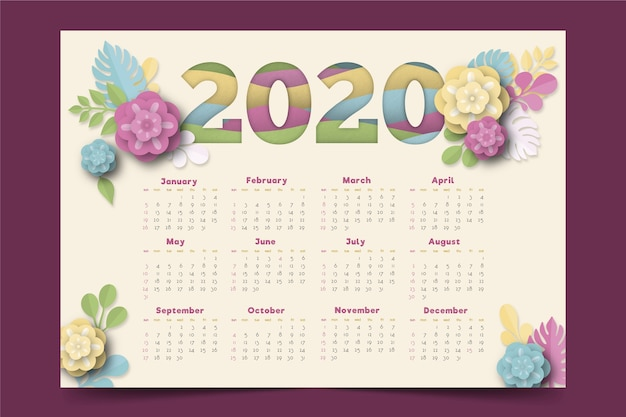 花2020カレンダーテンプレート 無料ベクター