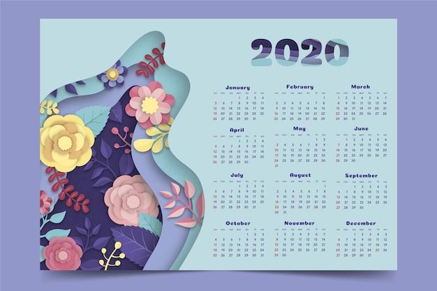 Цветочный шаблон календаря 2020 Premium векторы