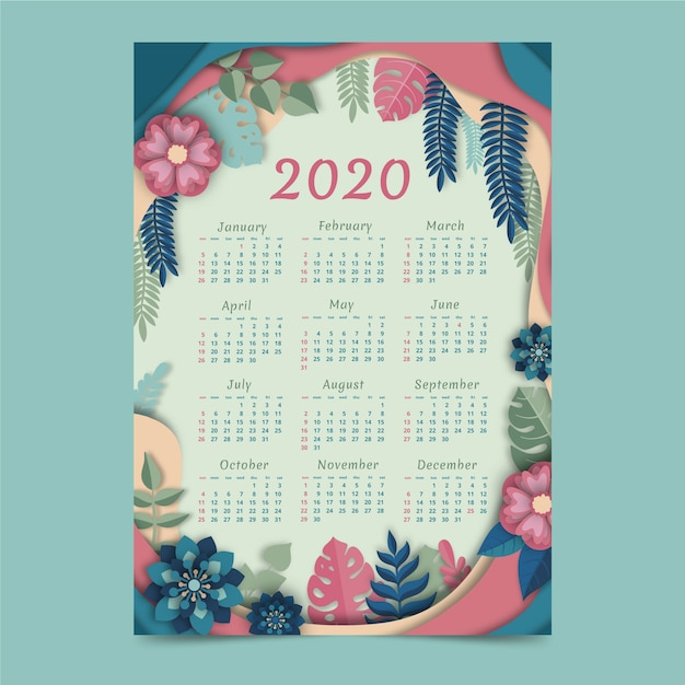 Цветочный шаблон календаря 2020 Бесплатные векторы