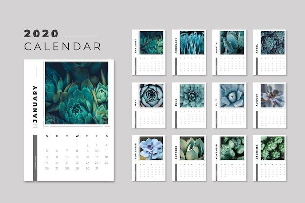 Floral 2020 calendar template Free Vector