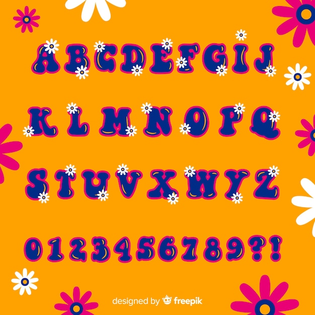 Floral 60's style alphabet Free Vector