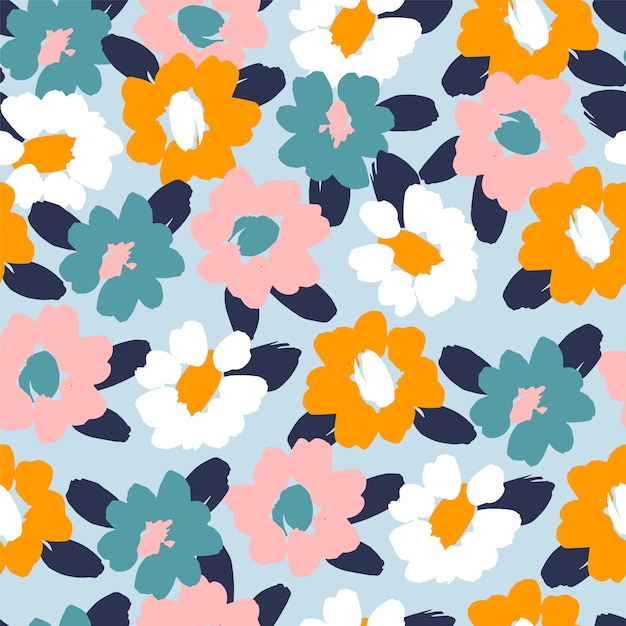 Floral abstract seamless pattern Premium Vector
