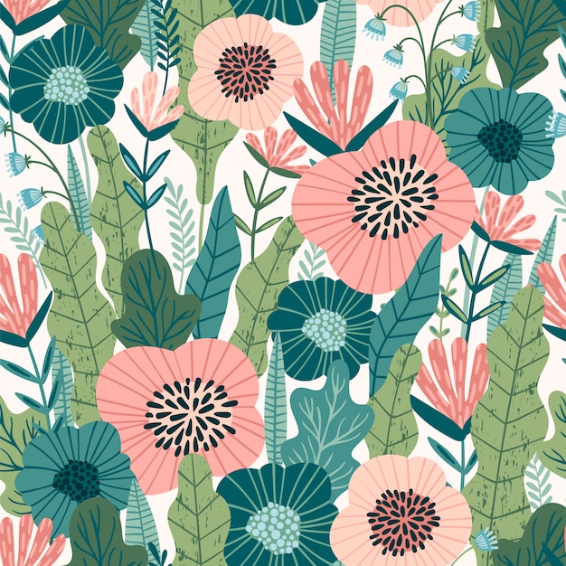 Floral abstract seamless pattern. Premium Vector