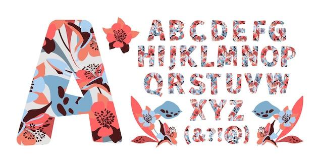 Aからzまでの花のアルファベット花のある文字。大文字 Premiumベクター