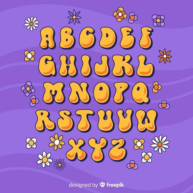 Цветочный алфавит в стиле 60-х годов в плоском дизайне Бесплатные векторы