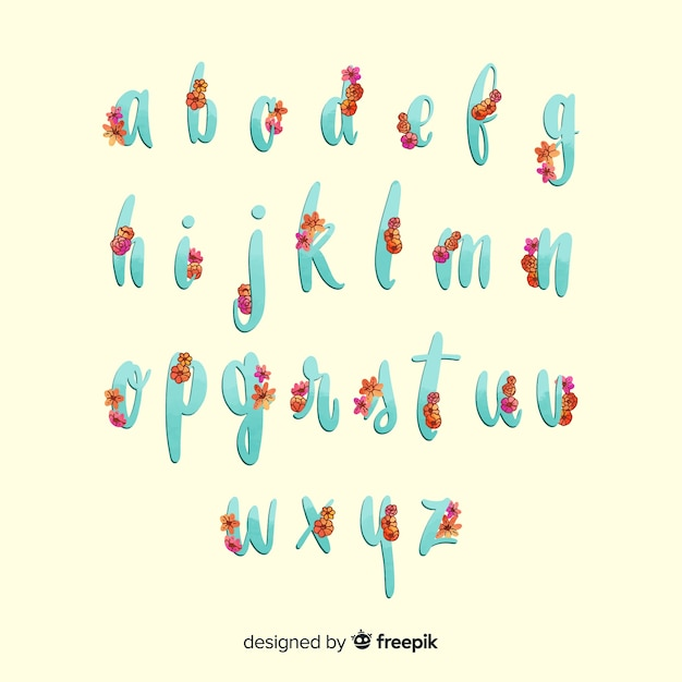 Floral alphabet template Free Vector