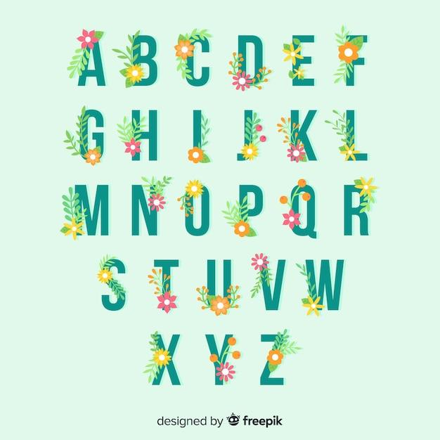 花のアルファベットのテンプレート 無料ベクター