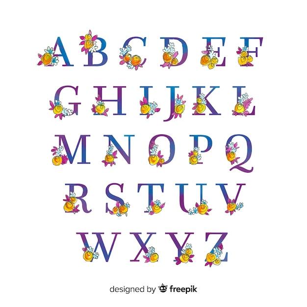 Floral alphabet Free Vector