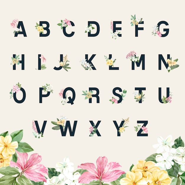 Floral alphabet Free Vector