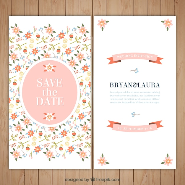 Floral and beautiful wedding invitation Free Vector