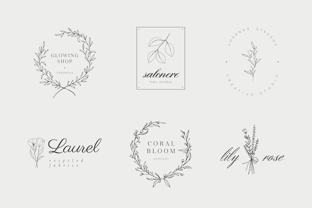 Коллекция цветочных и ботанических логотипов Premium векторы