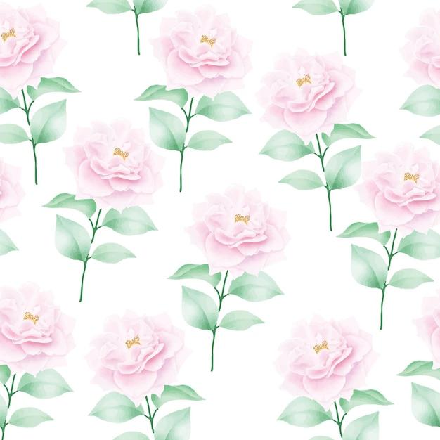 花とシームレスなパターンを残します Premiumベクター