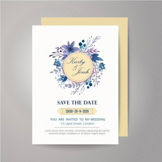 Floral and ribbon wedding invitation design vector free download floral and ribbon wedding invitation design free vector stopboris Image collections