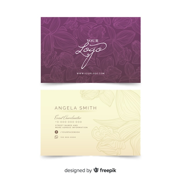 Floral arrangement on business card template Free Vector