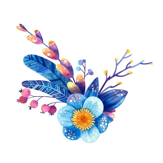 青と紫の色のフラワーアレンジメント 無料ベクター