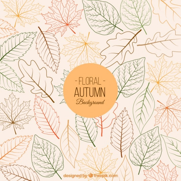 Floral autumn background Free Vector