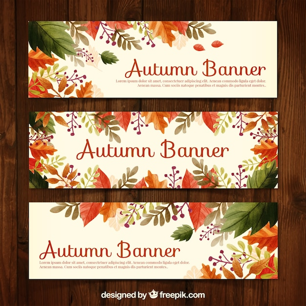 Floral autumn banners Free Vector