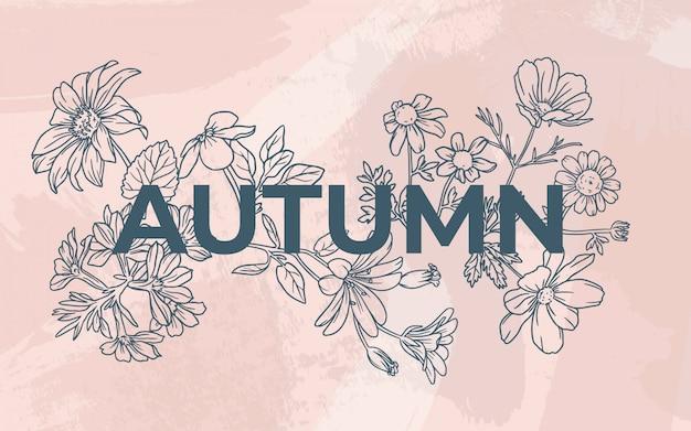 Цветочная осень с акварельным фоном Бесплатные векторы