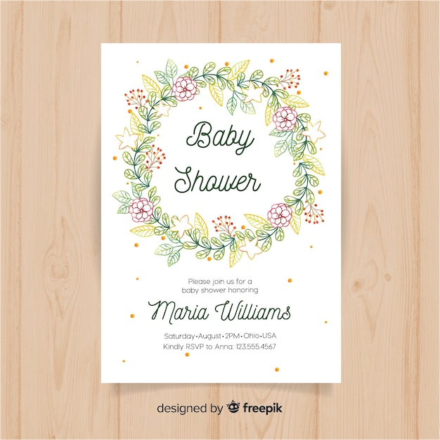 Floral baby shower template Free Vector