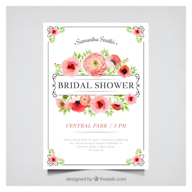 Floral bachelorette invitation in watercolor style Free Vector