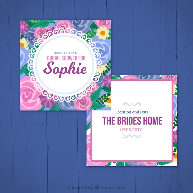 Floral Bachelorette Invitation Template Free Vector